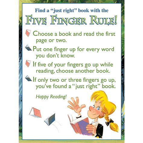 printable book poster five finger rule poster demco com