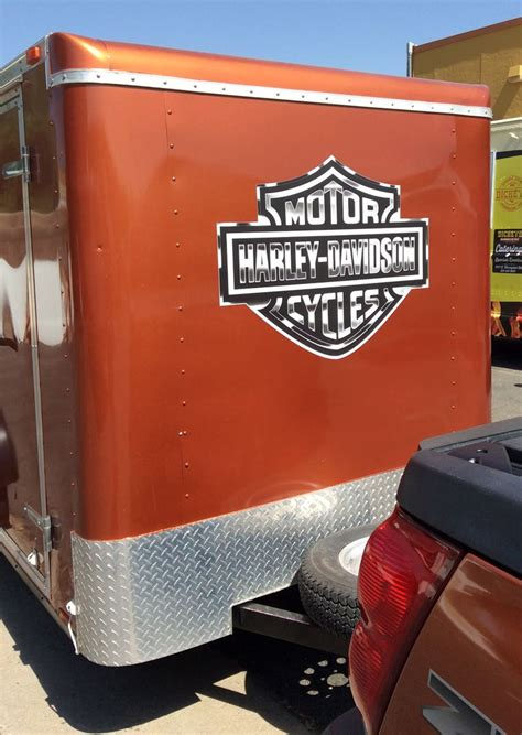 Harley Davidson Trailer Decals by Decal Installation Of Harley Davidson Logo On A Trailer