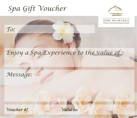 Spa Gift Card Voucher Template by Dome Spa Retreat Day Spa Brisbane Gift Voucher Dollar