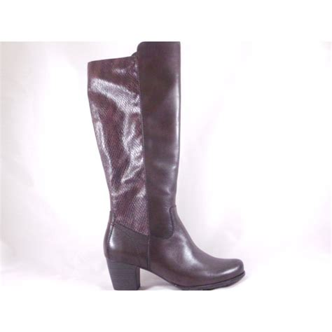 brown leather knee high boot with snakeprint from