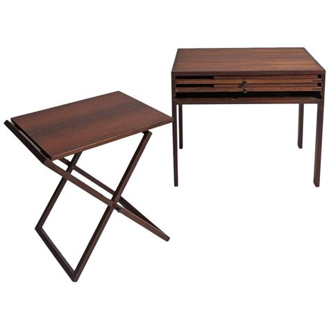 Folding Tray Table Set Set Of Three Folding Rosewood Tray Tables By Illum Wikkels 248 Silkeborg For Sale At 1stdibs