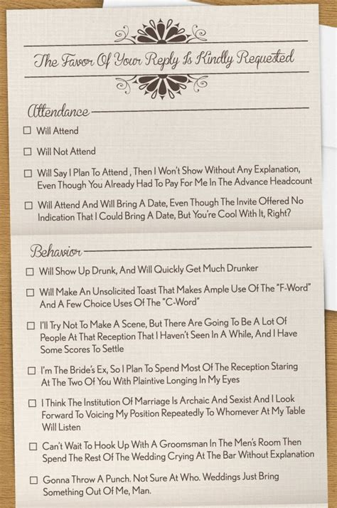 humorous wedding response cards rsvp the invitation you wish you could send photo huffpost