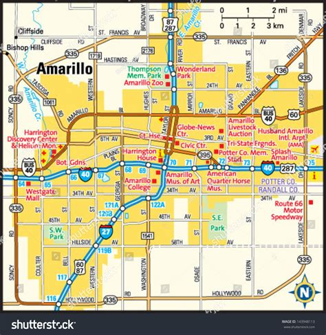 amarillo map of texas amarillo texas area map stock vector illustration 143948113