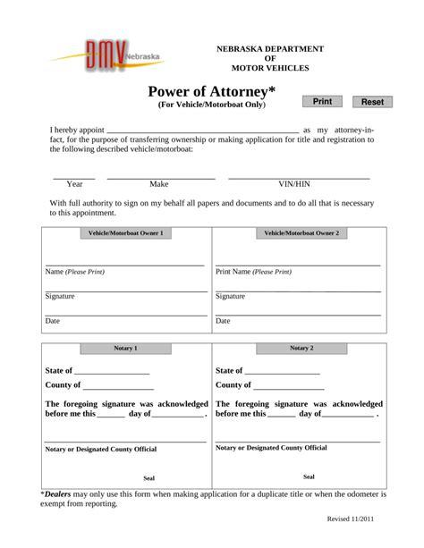 nebraska motor vehicle free nebraska motor vehicle power of attorney form pdf