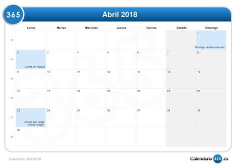 Calendario Abril 2018 Calendario Abril 2018