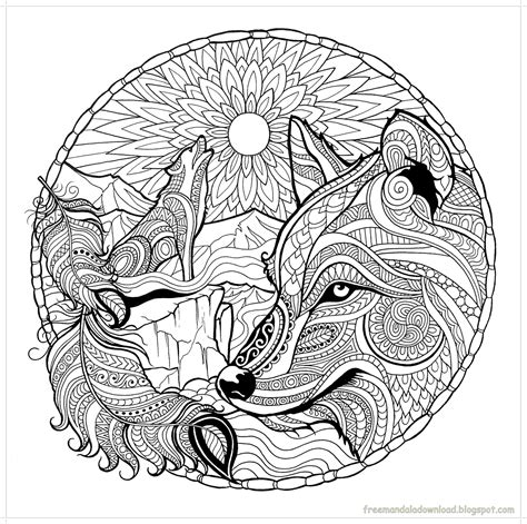 wolves coloring pages malvorlagen wolf mandala hohe qualit 228 t wolf mandala