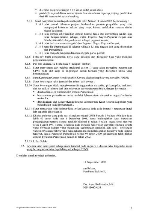 format daftar riwayat hidup sesuai keputusan bkn unej pengumuman cpns2008