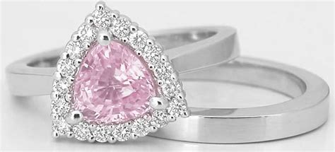 Trillion Light Pink Sapphire En Ement Ring With Matching