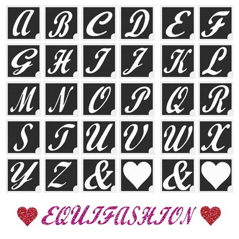 a z alphabet amp hearts glitter tattoo stencils