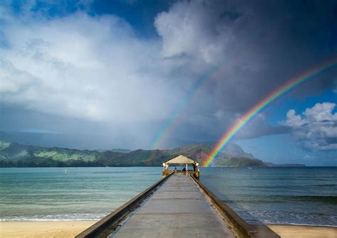 The Home Decor Company by Hanalei Bay Pier And Double Rainbow Photograph By Roger