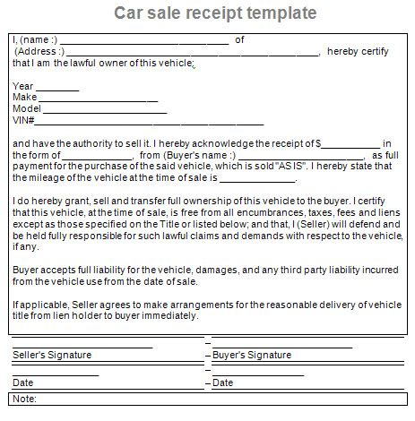 auto sale receipt template a a auto gross sales maken ki