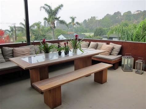 outdoor dining table with bench seating photo page hgtv