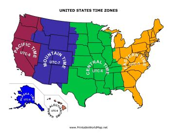 sections of united states time zones map usa