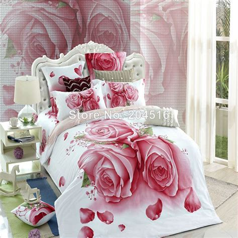 rose comforter set king queen size bedclothes pink rose flowers bedding set