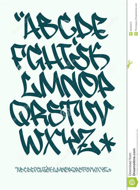 graffiti font hand written vector alphabet stock