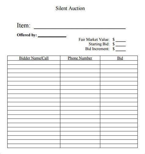 auction bid sheet template free templates resume