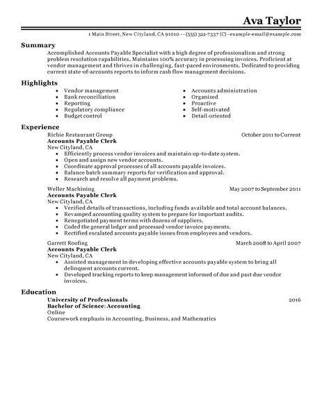 Resume Format Accounts Payable Accounts Payable Specialist Resume Exles Accounting Finance Resume Exles Livecareer