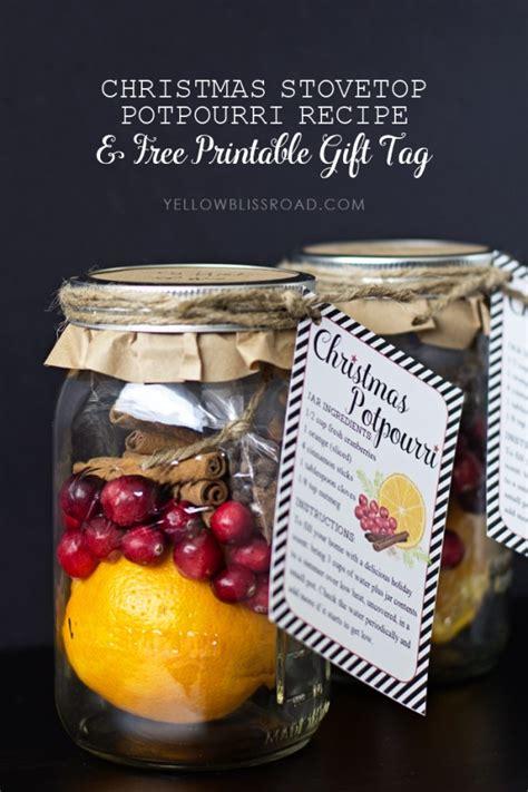 christmas stovetop potpourri recipe free printable gift