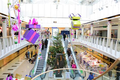 christmas decorations in shopping mall editorial image