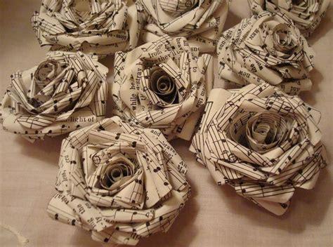 Vintage Paper Crafts - 10 vintage sheet paper roses rolled roses craft
