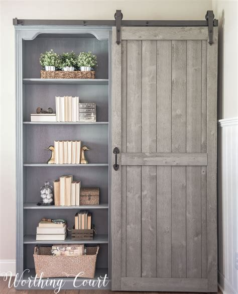 bookcases with sliding doors bookcase makeover traditional cherry to farmhouse fab