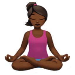 emoji yoga woman in lotus position medium dark skin tone emoji u