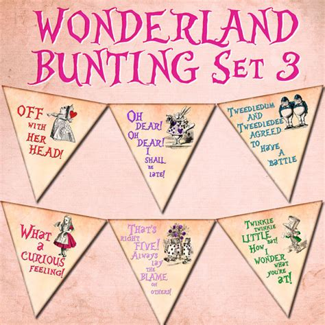 Alice In Wonderland Printable Decorations by Alice In Wonderland Decoration Bunting Digital Printable