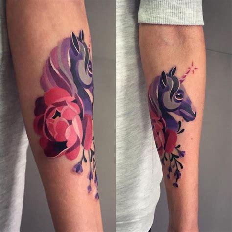 sasha unisex tattoo unicornio y flor by unisex unisex unicorn tattoos