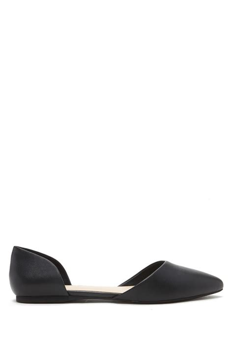 forever 21 flat shoes forever 21 pointed faux leather flats in black lyst