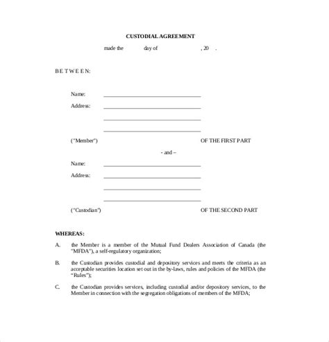 child custody agreement template 10 custody agreement templates free sle exle