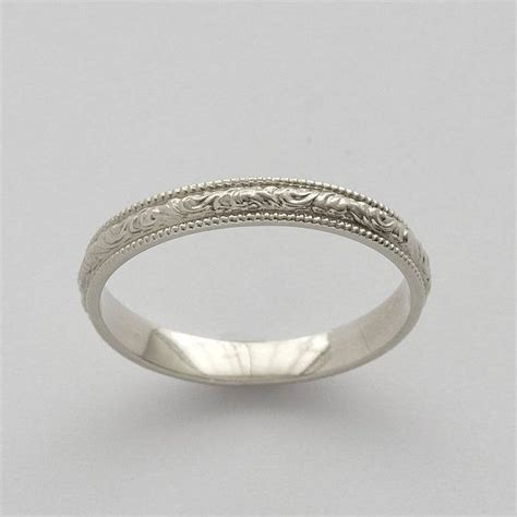 Eheringe Einfach by Vintage Scrolls White Gold Engraved Wedding Ring White