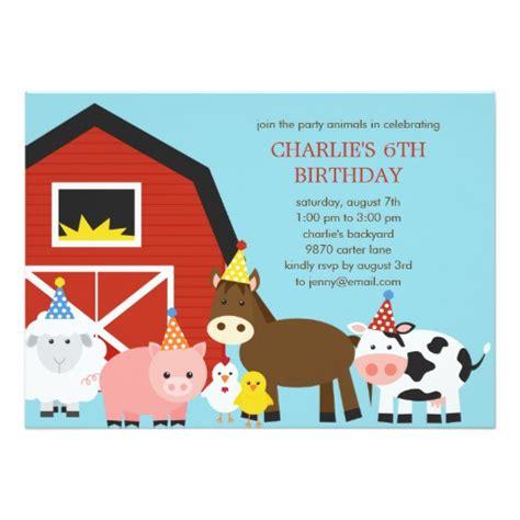 Farm Animals Birthday Party Invitation Zazzle Farm Animal Invitation Templates Free