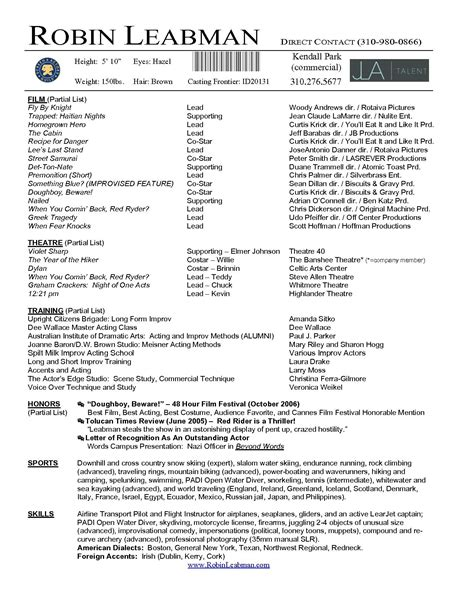 child actor resume exle actor resume template microsoft word http www