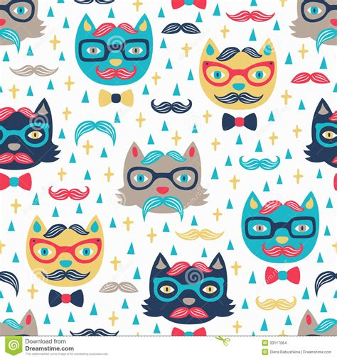 hipster pattern wallpaper hd hipster cat seamless background stock vector