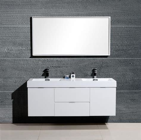 Modern Sink Bathroom Vanities Canada Bliss 60 Quot Kubebath High Gloss White Wall Mount Modern