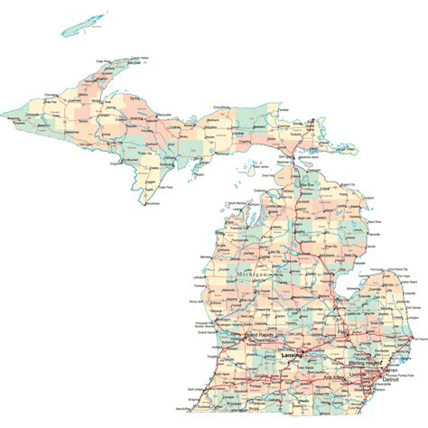 map of usa showing michigan state michigan road map mi road map michigan highway map