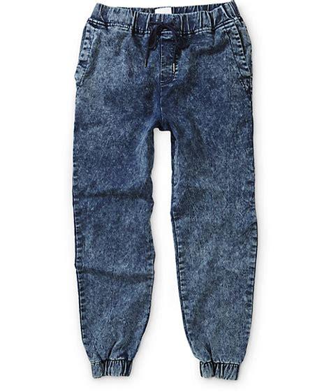 Ziya Jogger Pant Acid Joger Blue Jean elwood acid wash jogger zumiez