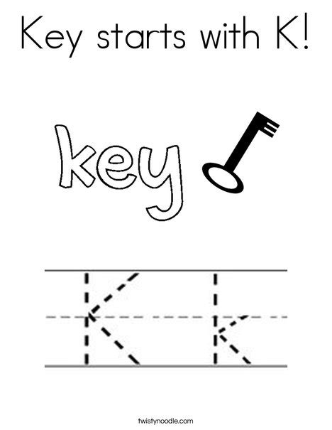 key coloring pages preschool key starts with k coloring page twisty noodle