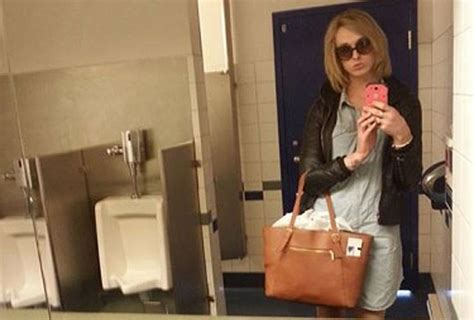 what bathroom do transgenders use transgender woman posts men s room selfies to protest