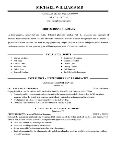 professional intensive care physician templates to