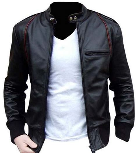 Jacket Bomber Kulit Bomber Leather Bomber Pria leather jacket biker leather jacket black mens
