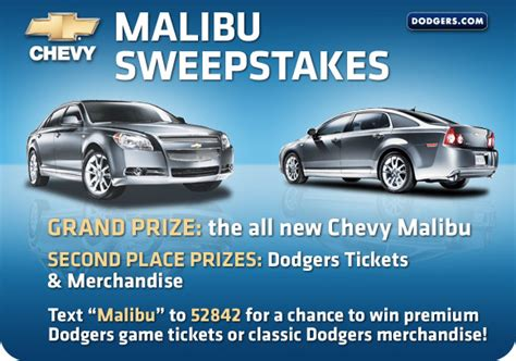 Chevy Sweepstakes - chevy malibu sweepstakes los angeles dodgers