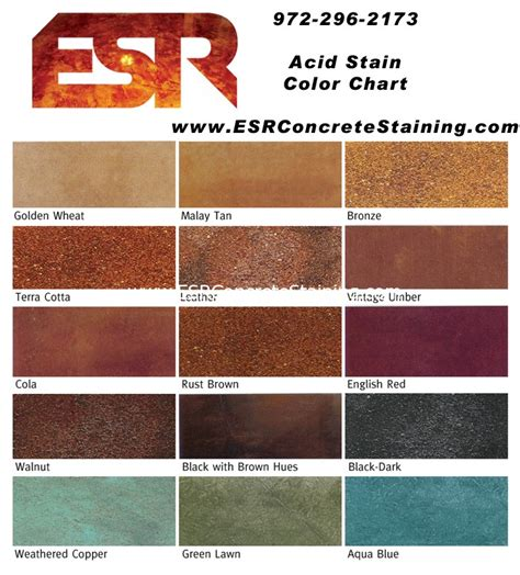 concrete acid stain color chart esr decorative concrete experts micro finish esr