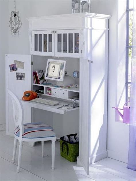 Home Office Desk In A Cupboard Small Home Office Cabinets Enhancing Space Saving Interior