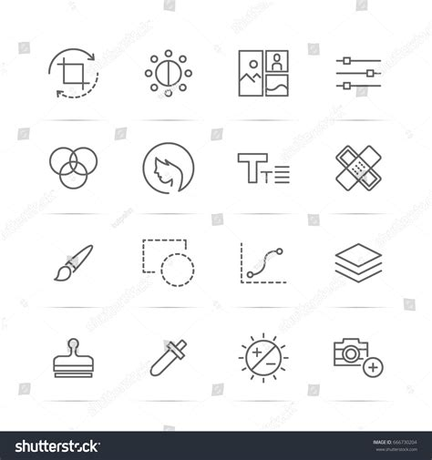 layout editor resolution photo editor tool vector line icons stock vector 666730204
