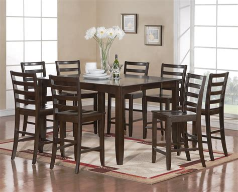 Square Dining Room Table With 8 Chairs 9 Pc Square Dinette Dining Counter Height Table 8 Wood Seat Chairs Cappuccico Ebay