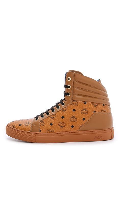 mcm sneakers for mcm high top sneakers in brown for lyst