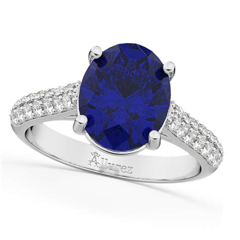 Blue Sapphire 4 75 Ct oval blue sapphire engagement ring 14k white