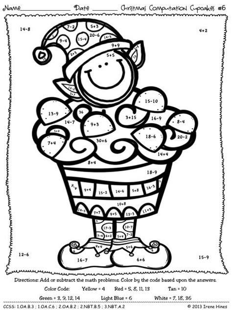 Christmas Coloring Pages For 2nd Grade | 10 best images of christmas math worksheets for 3rd grade