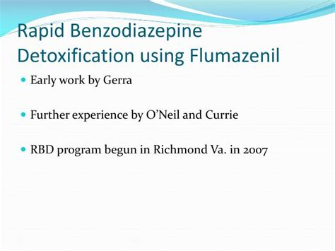 Rapid Benzo Detox Nyc ppt rapid benzodiazepine detoxification using low dose